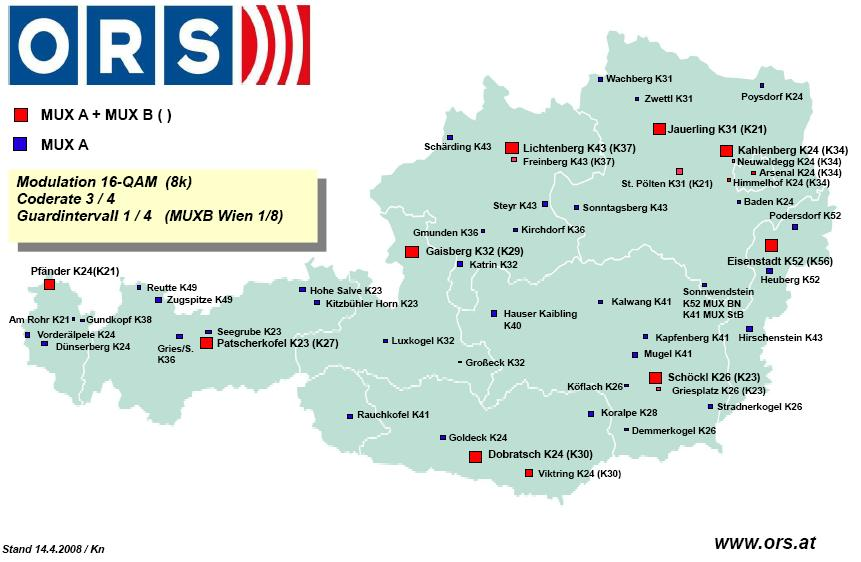 ausztria térkép tartományokkal DVB T, DVB T2, DVB H, DAB, DAB+ ausztria térkép tartományokkal